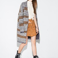 Grey and Brown Chunky Knit Long Cardigan