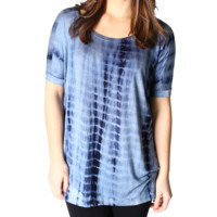 Blue Tie Dye Piko Short Sleeve Top