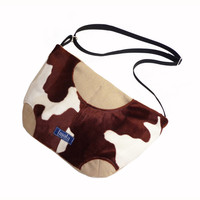 Faux fur cow pattern purse