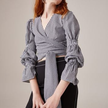 C/MEO COLLECTIVE BEST LOVE LONG SLEEVE TOP black check