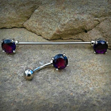 Purple Industrial Barbell Scaffold Piercing and Belly Ring 14ga Body Jewelry Piercing Jewelry 316L Surgical  Steel Scaffold