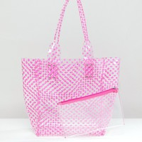 Chateau Fuschia Striped Jelly Tote with Wristlet Clutch at asos.com