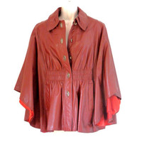 Brown Leather Cape with Bat Wings and Orange Satin Lining 70's Retro
