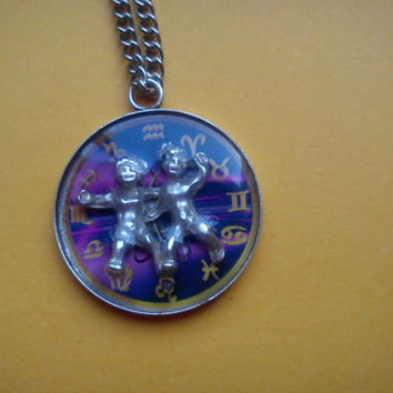 3D Astrological Sign Gemini , Necklace,Pendant,Zodiac Charm, Astrology,horoscope,Birth­day gift