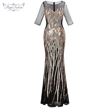 Angel-fashions Women's V Neck Evening Dresses Golden Vintage Sequin Mermaid Ballkleid Party Gown 377 model 393