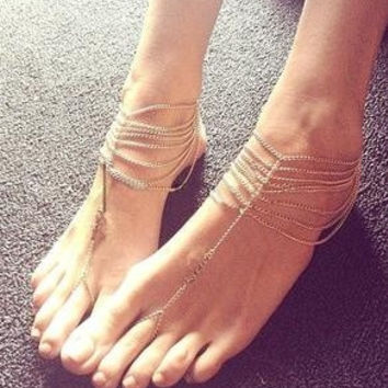 Gold Barefoot Sandals (Color: Gold) = 5613053185