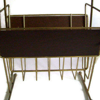 Retro Mid Century Magazine Rack Gold Chrome and Fiberboard with Wood Handle