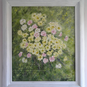 Original Framed Impressionist Oil Painting Yellow Chrysanthemums Floral