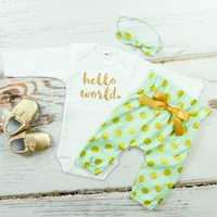 Baby Newborn take home outfit | Mint & Gold Hello World Outfit | Polka Dot High Waisted Pants and Knotted Headband