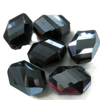 Jet Glass Faceted Rectangle Beads