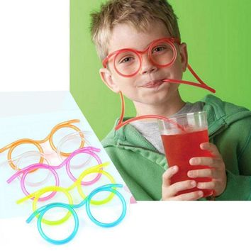 Hot! Funny Soft Glasses Straw Unique Flexible Drinking Tube Kids Party Accessories