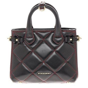Burberry Women's Baby Banner Quilted Lambskin Mini Tote Black Red
