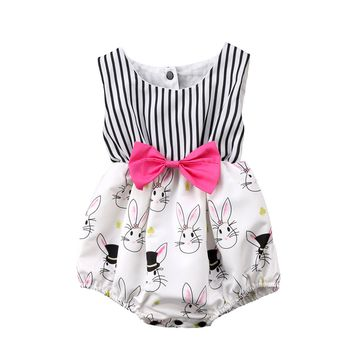 2018 Happy Easter Toddler Baby Girls Bowknot Jumpsuit Bodysuit Sleeveless Bow Striped Clothes Summer Bunny Rubbit Cute Outfits