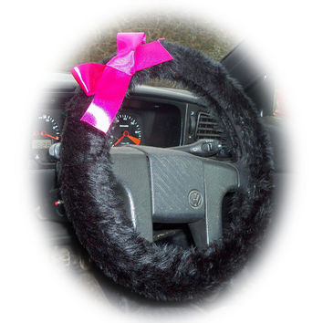 Black faux furry fur furry fluffy car Steering wheel cover with Hot Barbie Pink Bow