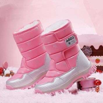Kids Snow boots winter ankle boots girls shoes fashion heels boys winter shoes for children