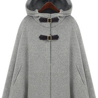 Grey Hoodie Two PU Buckle Woolen Cape Coat -SheIn(Sheinside)