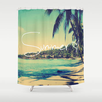 Summer Love Vintage Beach Shower Curtain by RexLambo