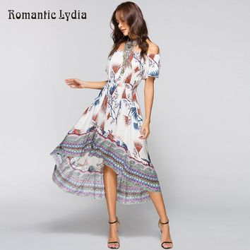 Women Summer Off Shoulder Bohemian Dress Boho Wrap Dresses Casual Loose Beach Floral Print Midi Dress