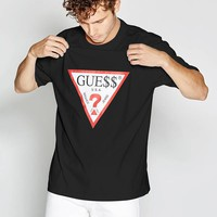 Oversized Short-Sleeve Retro Logo Tee at Guess