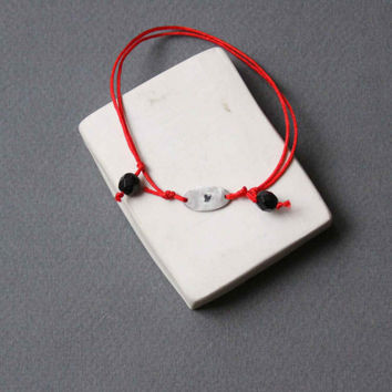 Love Bracelet - Sterling Silver Friendship Adjustable Bracelet with Black Heart and Red Silk Cord