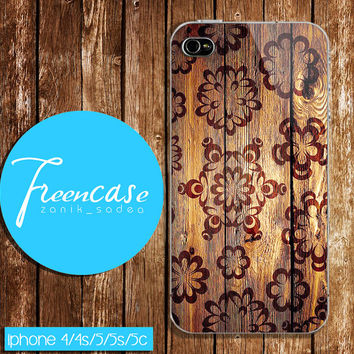 Floral wood case, brown chocolate case for iphone 4 case,iphone 4s case, iphone 5 case, iphone 5s case, iphone 5c case