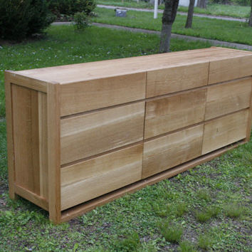 "Hardwood 9 Drawer Dresser, Framed Ends, Overlap Drawers, 90"" wide x 20"" deep x 29"" tall - natural color"