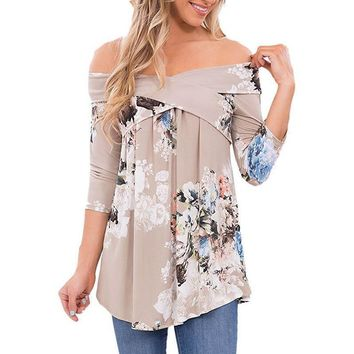 Sexy Floral Print Front Crossed Tunic Slim Tops Shirt Blouse Boho Boat Neck Off Shoulder