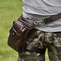 Men Genuine Leather Outdoor Hiking Motorcycle Fanny Waist Pack Drop Leg Bags