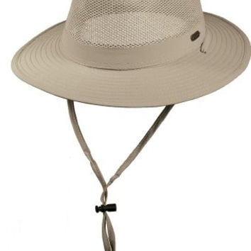 Stetson No Fly Zone Insect Shield Nylon Mesh Safari with Chin Cord Hat (L)