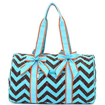 Monogrammed Chevron Quilted Large Duffle / Overnight / Weekend / School Bag