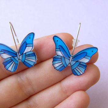 Blue Butterflies earrings by lacravatteduchien on Etsy