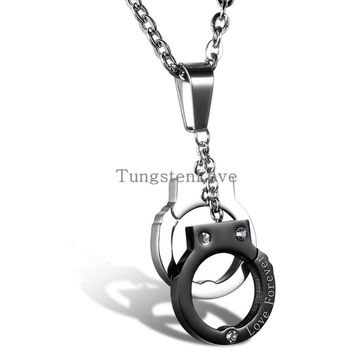 2015 New Fashion jewelry Stainless steel Handcuffs pendant Love Forever necklace for Women Girl lover Valentine's Day gifts