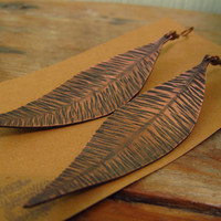 Hammered Copper Leaf / Feather Earrings by StrayStones on Etsy