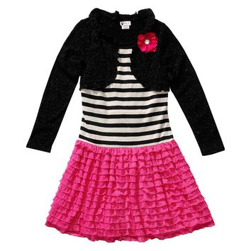 Youngland Mock-Layer Striped Ruffle Dress - Girls 4-6x