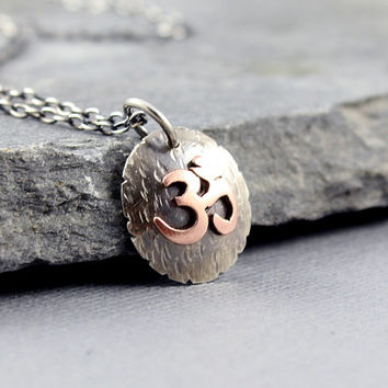 Om Pendant, Yoga Jewelry, Sterling and Copper Om, Peace and harmony jewelry, Chinese New Year, Buddhism, Hindu Jewelry, Zen Jewelry