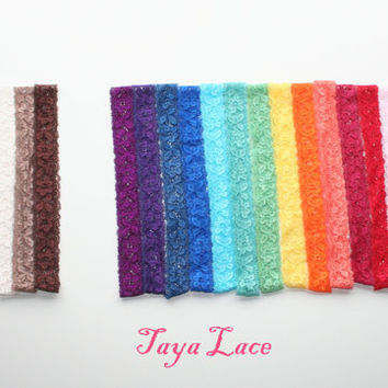 """Lace Headbands Elastic Lace Headband """"The TAYA Lace"""" Hand Dyed 1 inch wide Stretch Lace Infant Little Girls Newborn"""
