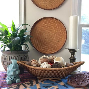 Decorative Wicker Half Moon Basket, Vintage Boat Shaped Centerpiece Decor, Large Woven  Half Moon Display Basket