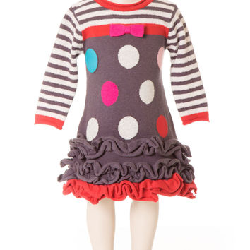 Deux Par Deux Girls Princess De Nord Polka Dot Knit Dress Nine Iron Gray Size 3-6 YRS