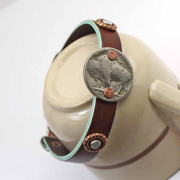 Leather buffalo nickel bracelet, mixed metal silver copper, coin jewelry, cuff, 8 inches