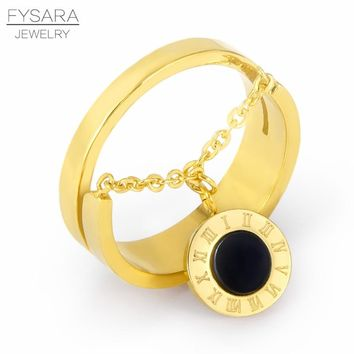 FYSARA Luxury Brand White Shell Black Round Tag Chain Finger Ring Stainless Steel Roman Numerals Gold Ring For Women Accessories