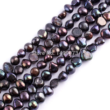 """5-7mm form Black Freshwater Pearl Spacer Natural Beads For DIY Necklace Bracelat Jewelry Making Strand 14"""""""