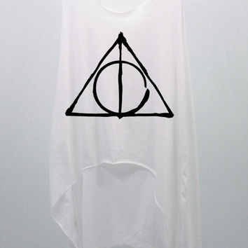 Deathly Hallows Harry Potter Tank Top Midriff Crop Top women handmade silk screen printing