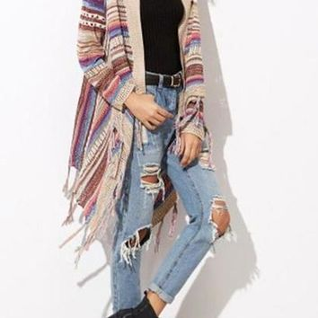 2017 Vintage Ethnic Style Irregular Hem Sweaters Cardigan Women Colorful Tassel Knitting Shawl Sweater Outwear Loose Knitwear