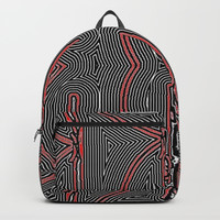 Maze Texture Red Black and White Design Backpacks by Sheila Wenzel