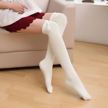 Hot New 5 Solid Color Fashion Sexy Thigh High Over The Knee Socks Winter Long Cotton Stockings For Girls Ladies Women 2016 W1