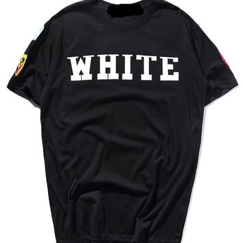 Off White Summer Hip-hop Short Sleeve Couple T-shirts [424529952804]