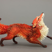Red Fox Animal Totem Figurine Sculpture Animal Fantasy Art magic spirit amulet