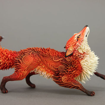 Red Fox Animal Totem Figurine Sculpture Fantasy Art Magic Spirit Amulet