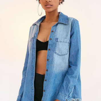 BDG Frayed Denim Button-Down Shirt - Urban Outfitters