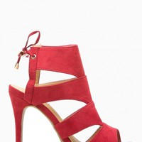 Red Faux Suede Cut Out Open Toe Lace Up Heels @ Cicihot Heel Shoes online store sales:Stiletto Heel Shoes,High Heel Pumps,Womens High Heel Shoes,Prom Shoes,Summer Shoes,Spring Shoes,Spool Heel,Womens Dress Shoes